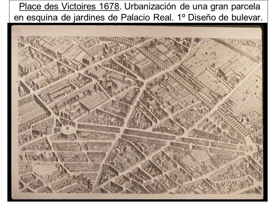 Place des Victoires 1678. Urbanización de una gran parcela en esquina de jardines de Palacio Real.