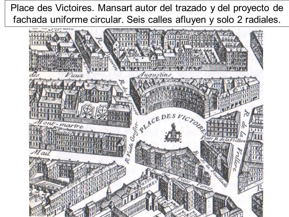 Place des Victoires. Mansart autor del trazado y del proyecto de fachada uniforme circular.
