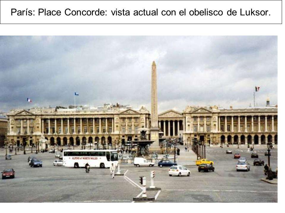 París: Place Concorde: vista actual con el obelisco de Luksor.