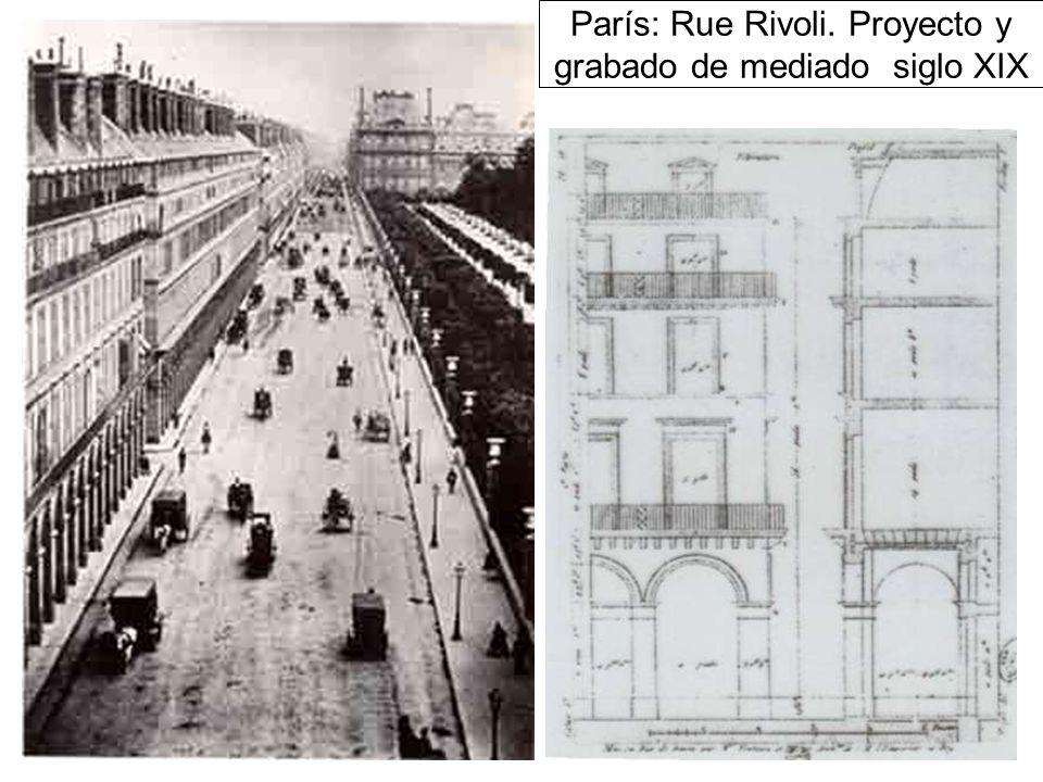 París: Rue Rivoli. Proyecto y grabado de mediado siglo XIX
