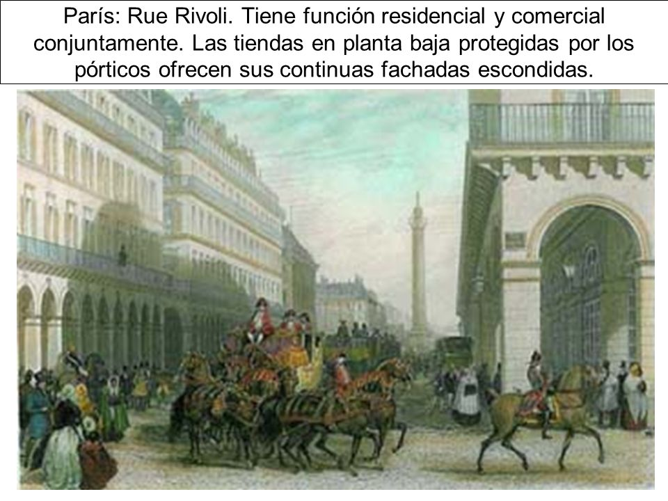 París: Rue Rivoli. Tiene función residencial y comercial conjuntamente