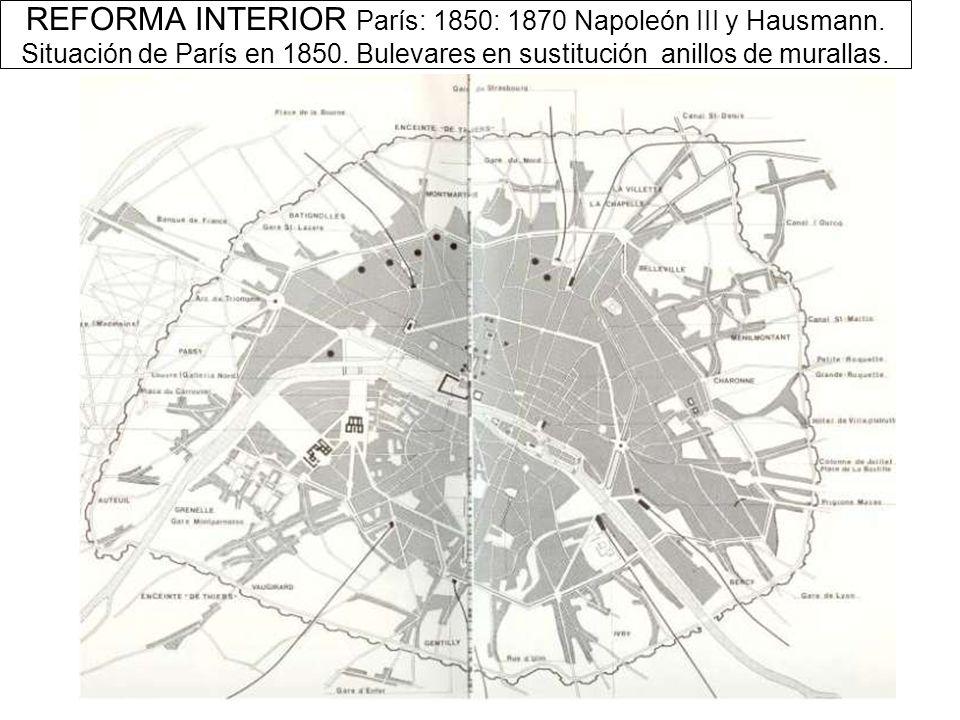 REFORMA INTERIOR París: 1850: 1870 Napoleón III y Hausmann