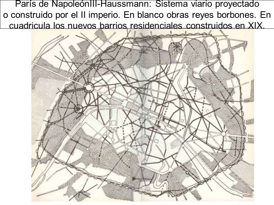 París de NapoleónIII-Haussmann: Sistema viario proyectado o construido por el II imperio.