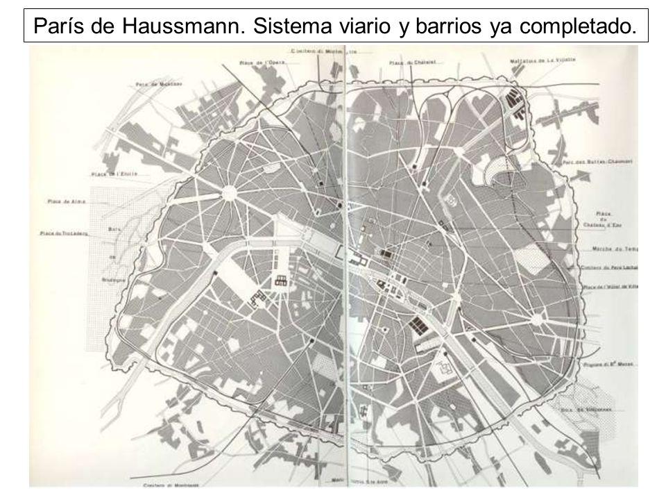 París de Haussmann. Sistema viario y barrios ya completado.