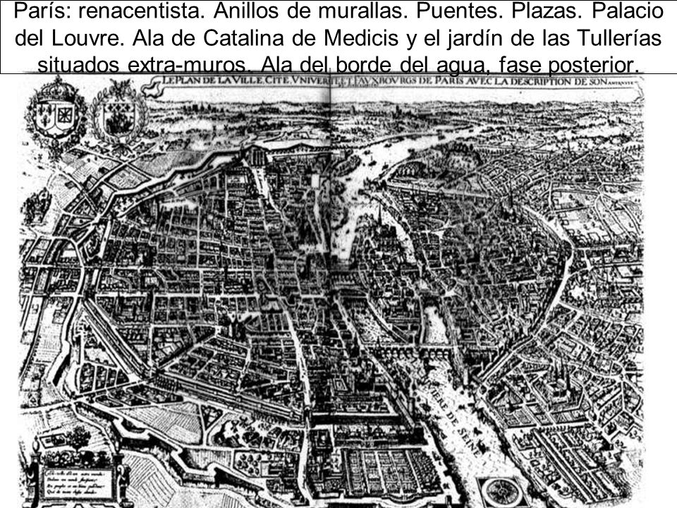 París: renacentista. Anillos de murallas. Puentes. Plazas