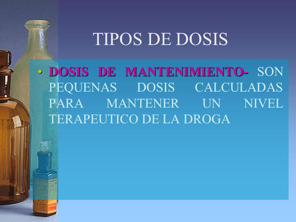 TIPOS DE DOSIS DOSIS DE MANTENIMIENTO- SON PEQUENAS DOSIS CALCULADAS PARA MANTENER UN NIVEL TERAPEUTICO DE LA DROGA.