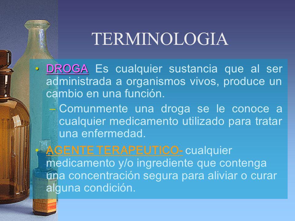 TERMINOLOGIA DROGA Es cualquier sustancia que al ser administrada a organismos vivos, produce un cambio en una función.