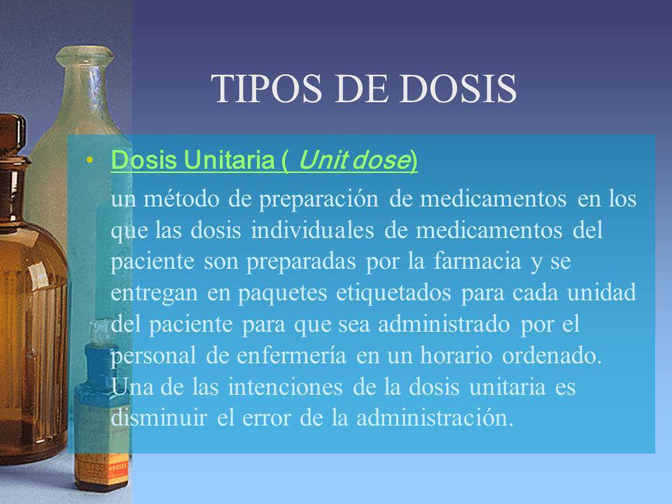 TIPOS DE DOSIS Dosis Unitaria ( Unit dose)