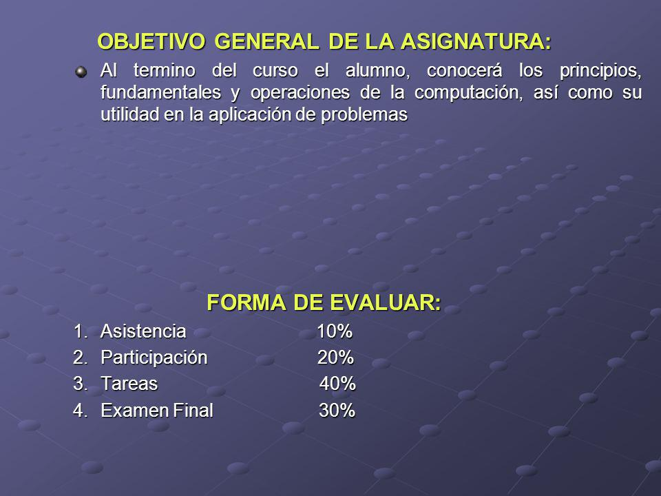 OBJETIVO GENERAL DE LA ASIGNATURA: