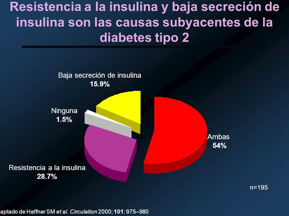 Resistencia a la insulina y baja secreción de insulina son las causas subyacentes de la diabetes tipo 2