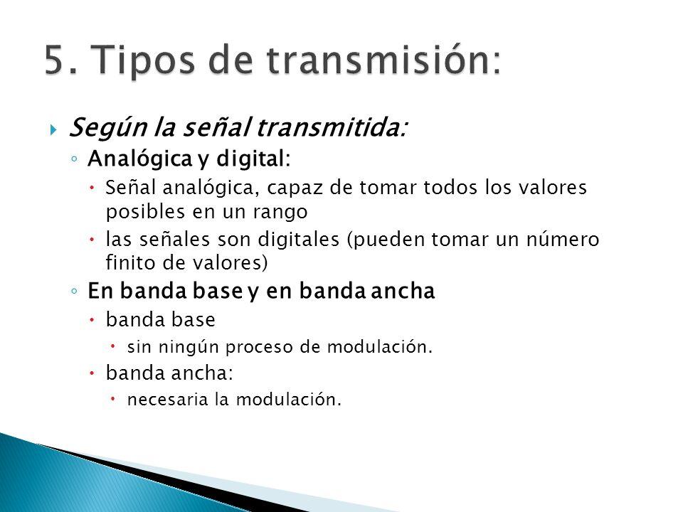 5. Tipos de transmisión: Según la señal transmitida: