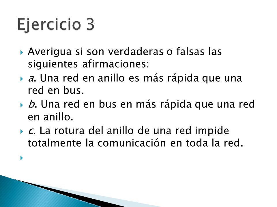 Ejercicio 3 Averigua si son verdaderas o falsas las siguientes afirmaciones: a. Una red en anillo es más rápida que una red en bus.
