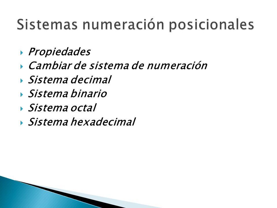 Sistemas numeración posicionales