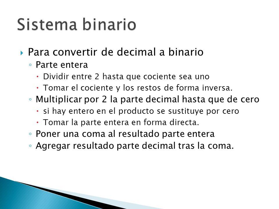 Sistema binario Para convertir de decimal a binario Parte entera