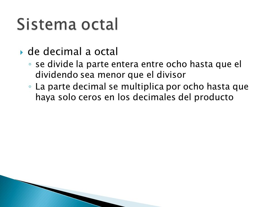 Sistema octal de decimal a octal