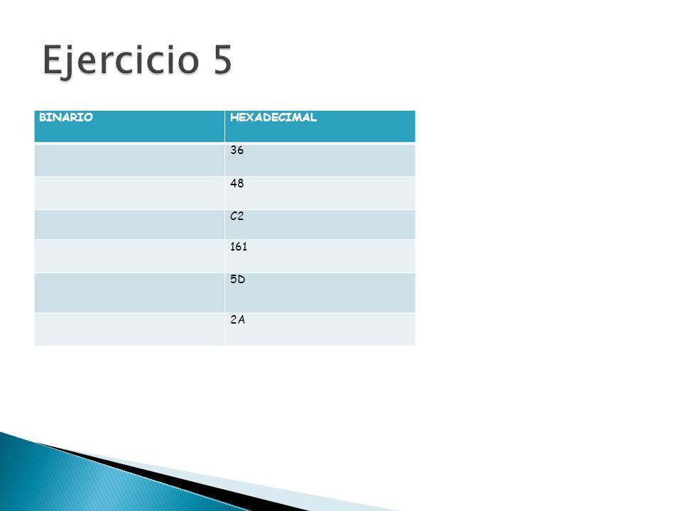 Ejercicio 5 BINARIO HEXADECIMAL 36 48 C2 161 5D 2A