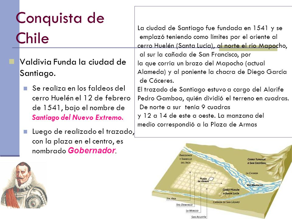 Conquista de Chile Valdivia Funda la ciudad de Santiago.