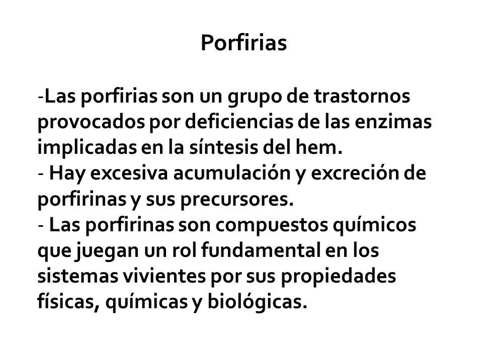 Porfirias Las porfirias son un grupo de trastornos provocados por deficiencias de las enzimas implicadas en la síntesis del hem.