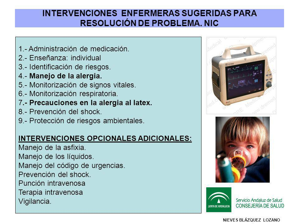 INTERVENCIONES ENFERMERAS SUGERIDAS PARA RESOLUCIÓN DE PROBLEMA. NIC