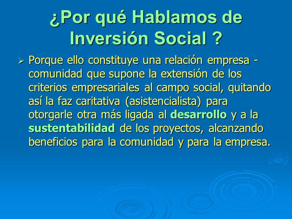 ¿Por qué Hablamos de Inversión Social