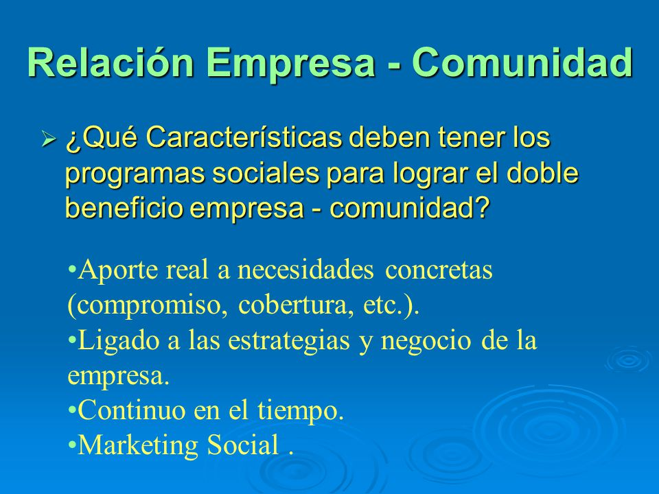 Relación Empresa - Comunidad