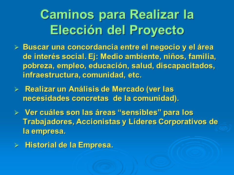 Caminos para Realizar la Elección del Proyecto