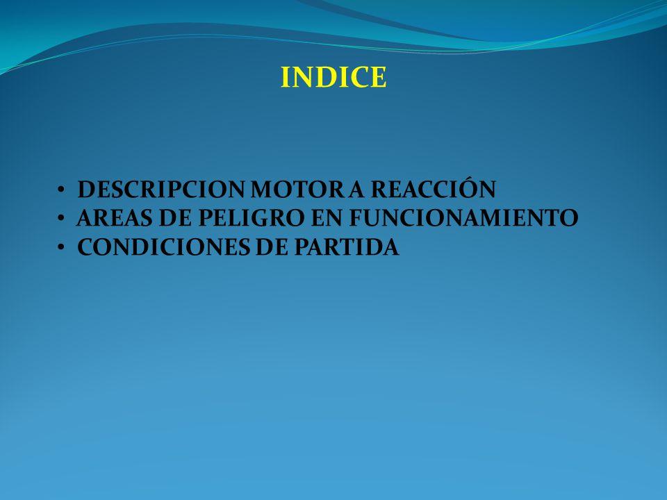 INDICE DESCRIPCION MOTOR A REACCIÓN AREAS DE PELIGRO EN FUNCIONAMIENTO
