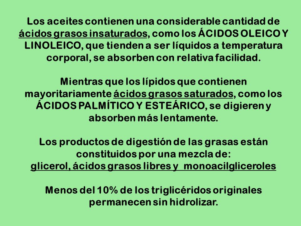 glicerol, ácidos grasos libres y monoacilgliceroles