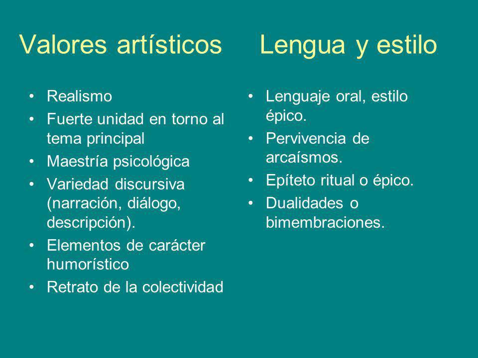 Valores artísticos Lengua y estilo