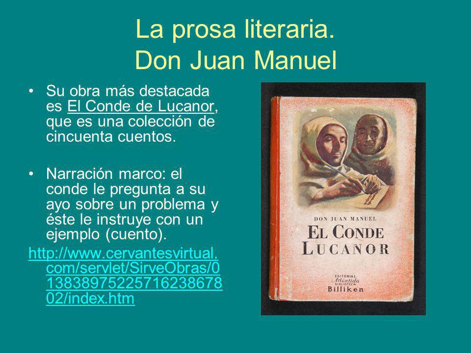La prosa literaria. Don Juan Manuel