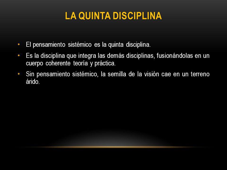 La Quinta Disciplina El pensamiento sistémico es la quinta disciplina.