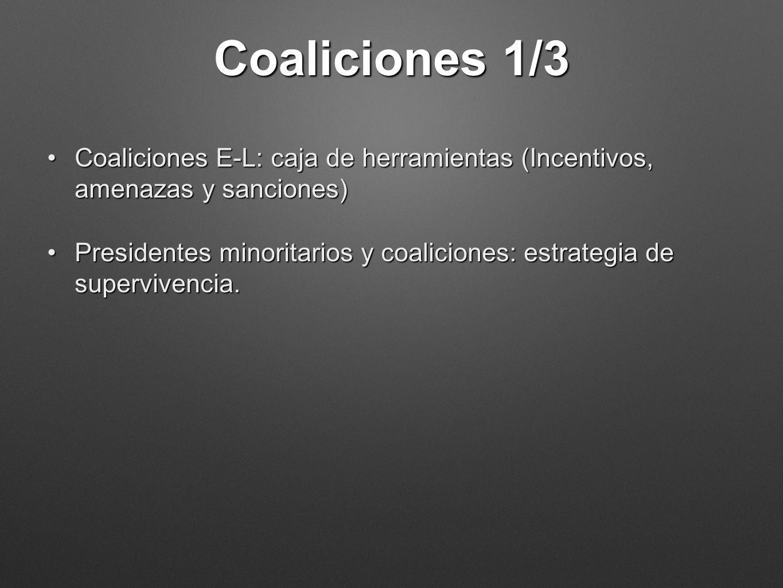 Coaliciones 1/3 Coaliciones E-L: caja de herramientas (Incentivos, amenazas y sanciones)