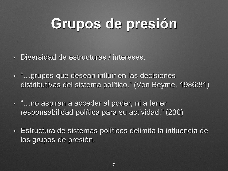 Grupos de presión Diversidad de estructuras / intereses.