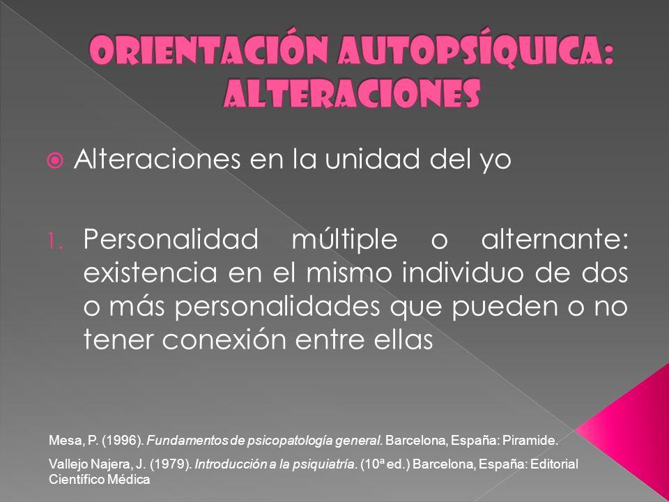 Orientación autopsíquica: ALTERACIONES