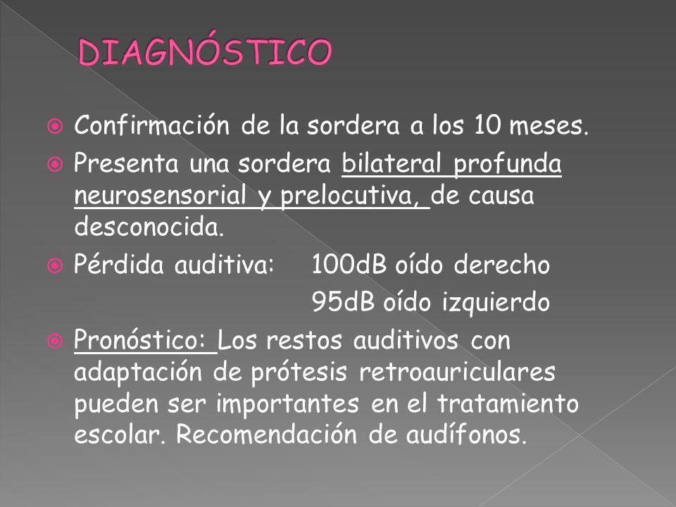 DIAGNÓSTICO Confirmación de la sordera a los 10 meses.