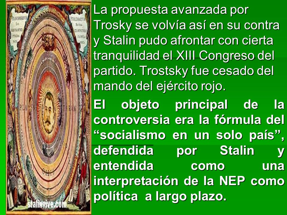 La propuesta avanzada por Trosky se volvía así en su contra y Stalin pudo afrontar con cierta tranquilidad el XIII Congreso del partido. Trostsky fue cesado del mando del ejército rojo.