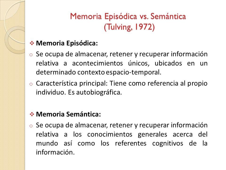 Memoria Episódica vs. Semántica (Tulving, 1972)