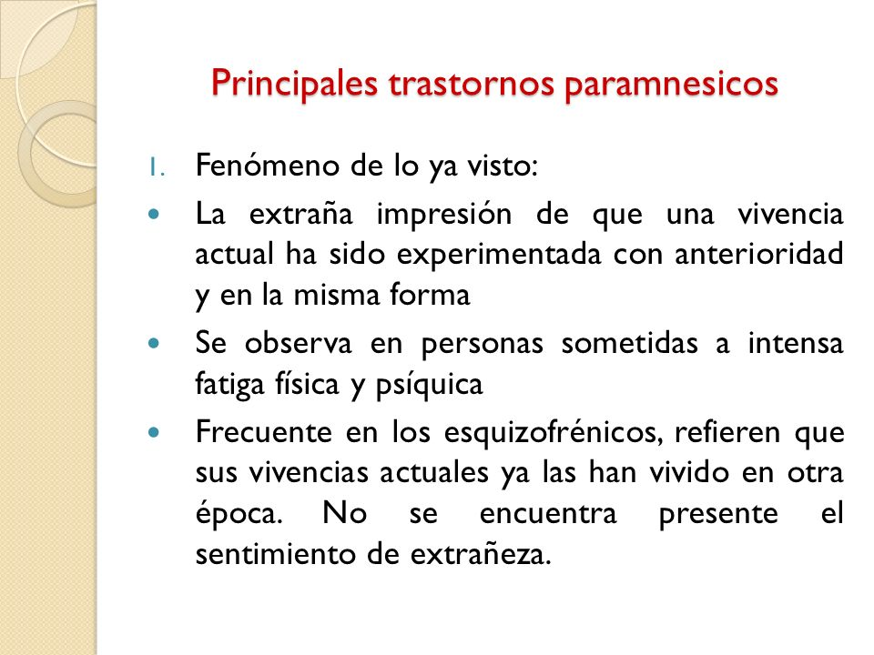 Principales trastornos paramnesicos
