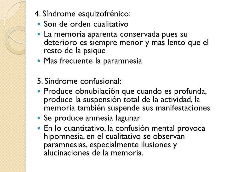 4. Síndrome esquizofrénico: