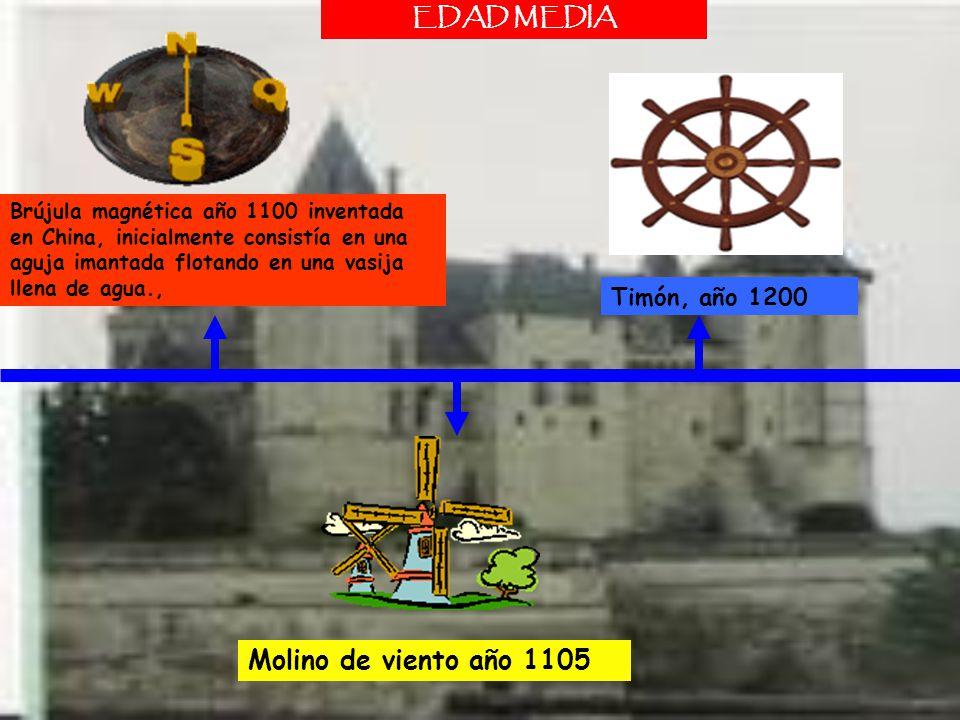 Molino de viento año 1105 EDAD MEDIA Timón, año 1200