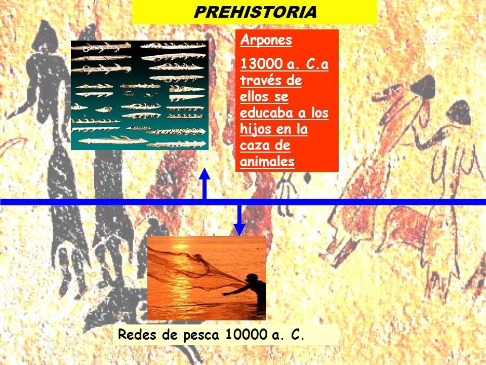 PREHISTORIA Arpones. 13000 a. C.a través de ellos se educaba a los hijos en la caza de animales.
