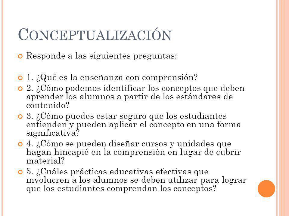 Conceptualización Responde a las siguientes preguntas: