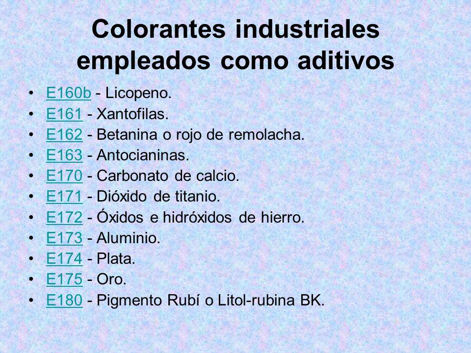 Colorantes industriales empleados como aditivos