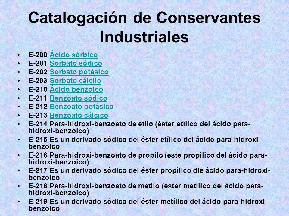 Catalogación de Conservantes Industriales