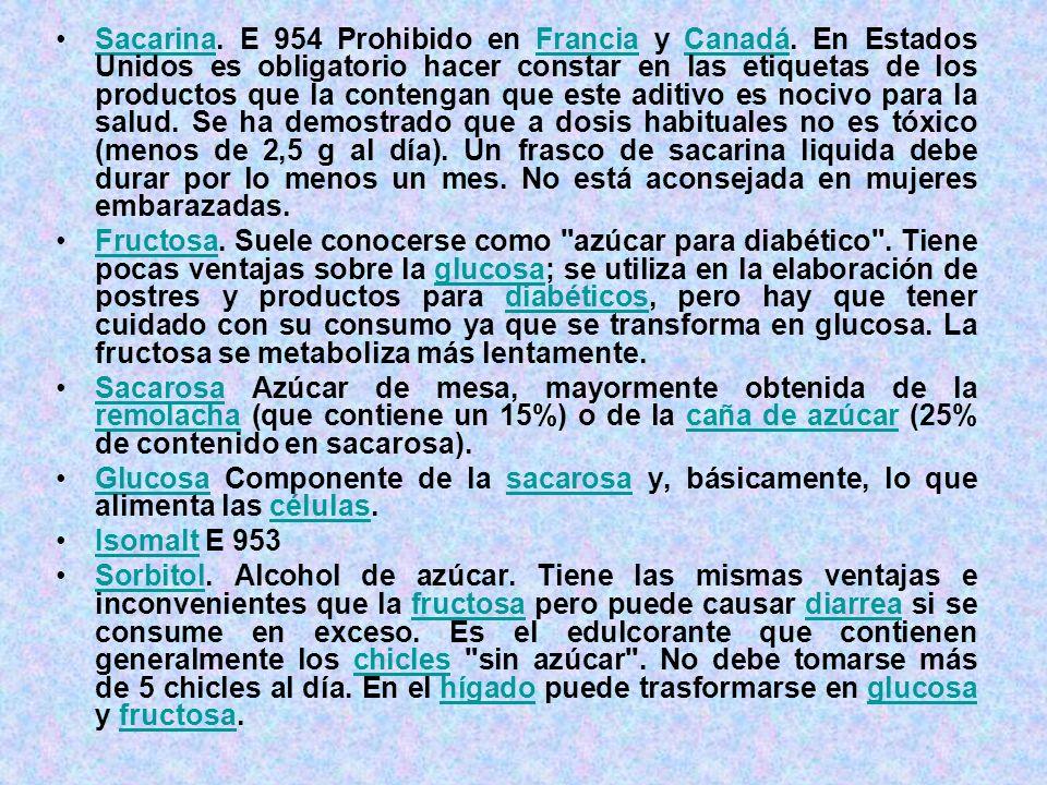 Sacarina. E 954 Prohibido en Francia y Canadá