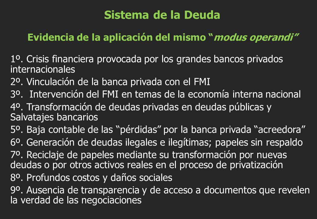 Sistema de la DeudaEvidencia de la aplicación del mismo modus operandi