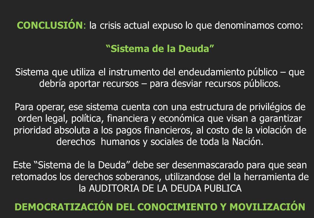 Sistema de la Deuda DEMOCRATIZACIÓN DEL CONOCIMIENTO Y MOVILIZACIÓN