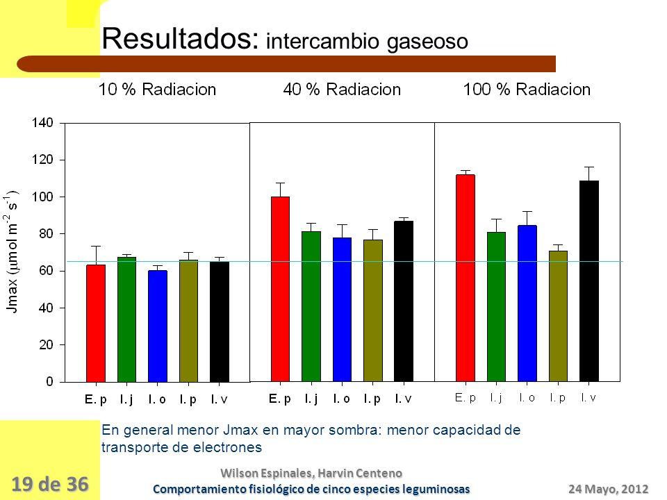 Resultados: intercambio gaseoso