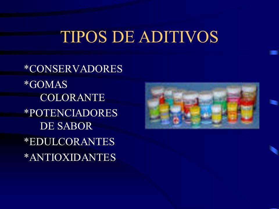 TIPOS DE ADITIVOS *CONSERVADORES *GOMAS COLORANTE