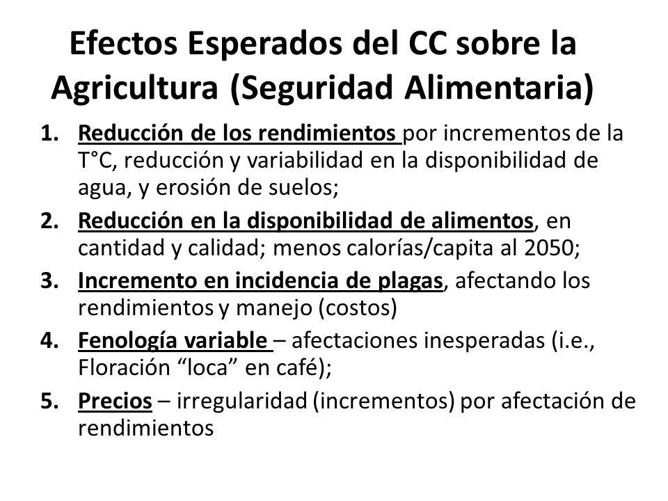 Efectos Esperados del CC sobre la Agricultura (Seguridad Alimentaria)